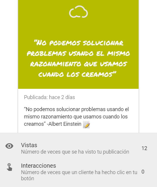 estadísticas publicaciones de google my business