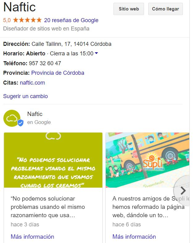 publicaciones de google my business naftic