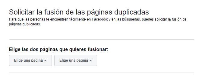 fusionar dos paginas de facebook
